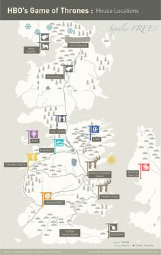 Game of Thrones family sigil map