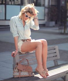#outfit #summer #denim #blouse #short