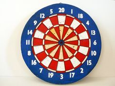 Vintage Dart Board Double Sided//Red White by OneFairfaxRoad, $35.00