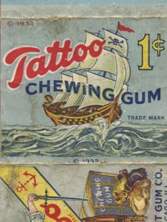 This is one of my fondest memories of buying candy from the store across the street from my Grandfather's house.  The gum was turquoise blue and had a one of a kind good taste and then the wonderful tattoos were so much fun.  Ahhhh...the memories.