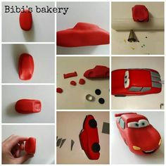 Pictorial on how to make Car'sLightning McQueen out of fondant icing. Fondant Cake Tutorial, Cake Topper Tutorial, Fondant Icing, Car Cake Toppers, Fondant Toppers, Baby Birthday Cakes, Cars Birthday Parties, Lightning Mcqueen Cake, Crea Fimo