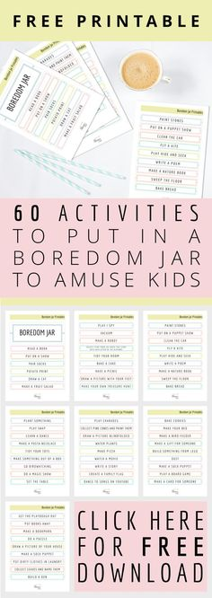 60 Activities to put in a boredom jar