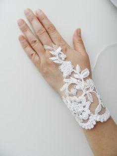 bridal glove wedding gloves lace gloves fingerles by WEDDINGHome, $35.00