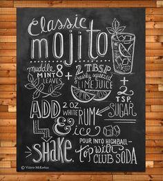 Mojito Recipe Chalkboard Art Print by Lily & Val