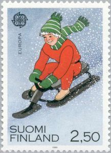 Issued in 1989, Suomi - Child on controllable toboggan