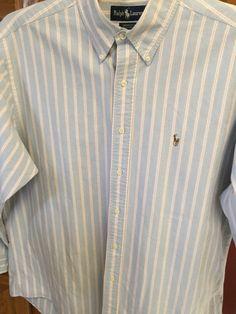 RALPH LAUREN POLO YARMOUTH Long sleeve 16 1/2 - 34 Oxford Striped Dress Shirt…