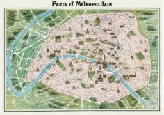 """Large Poster of Vintage Paris Map, size 20""""x28"""", printed in Italy"""