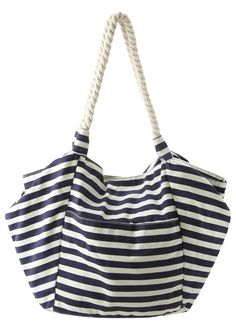 Big nautical style beach bag with rope handles