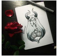 Tattoo Girls, Tattoo Designs For Girls, Designs To Draw, Girl Tattoos, Dark Art Drawings, Pencil Art Drawings, Art Sketches, Satanic Tattoos, Tattoo Flash Art