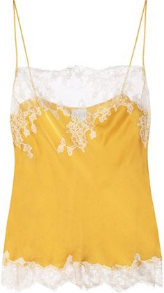 CARINE GILSON  Thème Louise Lace-trimmed Silk-satin Camisole