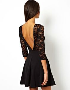 Lace stitching Wrap chest waist Long sleeved sexy deep V-neck round collar dress Dressy Dresses, Club Dresses, Cheap Dresses, Lace Dresses, European Fashion, European Style, Dress Backs, Flare Dress, Dress Skirt