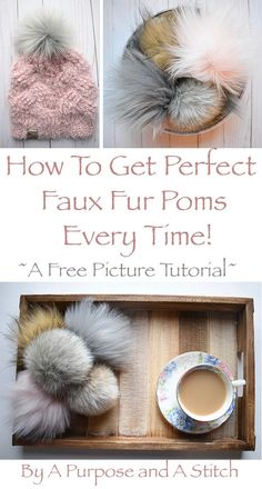 Faux Fur Pom Pom Tutorial Kunstpelz Pom Pom Tutorial von A Purpose und A Stitch Pom Pom Crafts, Yarn Crafts, Yarn Projects, Crochet Projects, Craft Stick Crafts, Diy And Crafts, Craft Ideas, Diy Pompon, Pom Pom Tutorial