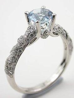 Diamond Wedding Rings : Antique Style Aquamarine Engagement Ring - Buy Me Diamond Antique Engagement Rings, Antique Rings, Antique Jewelry, Vintage Jewelry, Aquamarine Rings, Diamond Rings, Oval Diamond, Pretty Rings, Beautiful Rings