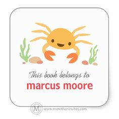 """Cute and fun bookplate stickers / book labels for children featuring a little kawaii style, yellow crab, green seaweed and rocks. Customizable text """"this book belongs to"""". Personalize the name. Cute design for labeling books."""
