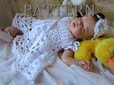 Cielo Crochet Baby Dress Pattern Lacy Dress for Newborn through 9 months