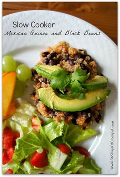 Slow Cooker Mexican Quinoa and Black Beans [from 365 Days of Slow Cooking via Slow Cooker from Scratch]   Quinoa in the slow cooker; I'm intrigued! #SlowCooker #CrockPot #SlowCookerSummerDinners