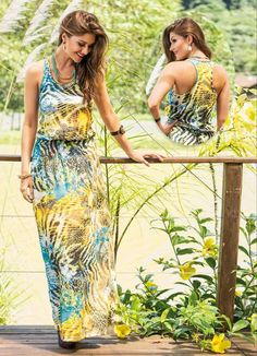 Vestido Longo Mix Estampa