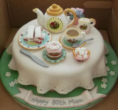Tea party birthday cake for mother.JPG(How To Make Cake Tea Parties) Cakes To Make, Fancy Cakes, Mother Birthday Cake, Tea Party Birthday, Afternoon Tea Birthday Cake, 80 Birthday Cake, Fondant Cakes, Cupcake Cakes, Brithday Cake