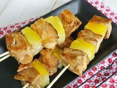 Teriyaki chicken and pineapple skewers