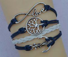 Dark blue infinity bracelet bracelet natural by endlesslovegift, $5.75