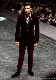 Ranbir Kapoor looks hot in a stylish burgundy velvet suit designed by Manish Malhotra. via Voompla.com