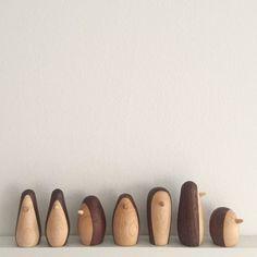 3 penguin figures wood wooden penguins handmade