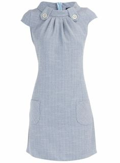 Blue linen tab neck dress - something like this in a linen wool blend?