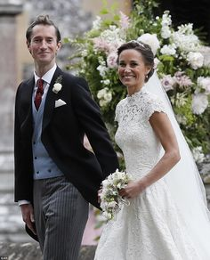 Pippa Middleton and James Matthews smiled for the cameras after their wedding at St Mark's...