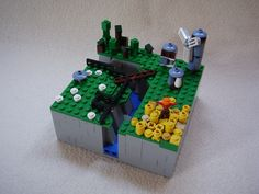 https://flic.kr/p/afiHF9 | The medieval farm | totalview, A microscale LEGO-farm made because I was bored. On the foto you can spot: -the ravin with water on the bottom, a grainfield with a scarecrow, the LEGO-farm with windmill, a wooden brigde across the ravine, the sheep on the grassland with a fence from keeping the to fall into the ravine and a manger to feed them and last but not least the forest. It took me some time to build this and I had to tear it down twice to get this result. I…