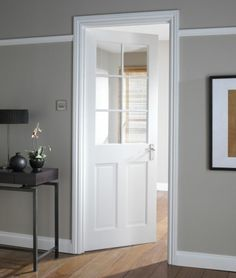White interior doors for your home - inspirational ideas- Weiße Innentüren für Ihre Wohnung – inspirierende Ideen With subtle colors, a timeless white lacquer door can easily be staged. White Interior Doors, Room Interior, Interior Design Living Room, Glass Panel Door, Panel Doors, Internal Doors, Plywood Furniture, Grey Walls, Sweet Home