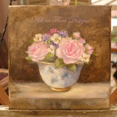 The Small Bouquet collection  - roses, strawberry flowers , wild flowers  Original oil Painting by  Helen Flont -Floral - still life