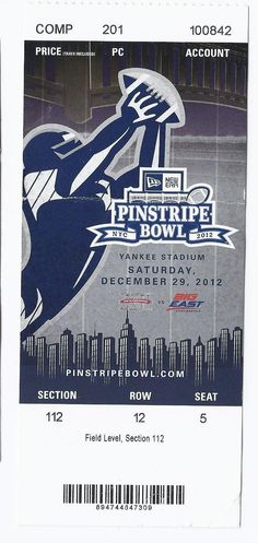 2012 Pinstripe Bowl Game Full Unused Season Ticket Syracuse West Virginia Yankee....if you like this you can find many more college bowl game tickets for sale at.....www.everythingcollectibles.biz