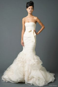 strapless mermaid wedding dress with bow sash