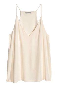 Flared, V-neck camisole top in jersey with a sheen. Narrow shoulder straps and racer back. Lined at top. V Neck Tank Top, V Neck Tops, Casual Outfits, Fashion Outfits, Fashion Trends, Tank Shirt, H&m Tops, Pulls, Pink Tops