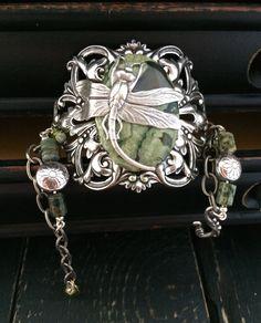 Silver Filigree Bracelet, Natural Stone Bohemian Bracelet, Dragonfly Bracelet, Green Stone Bracelet, Boho Chic Cuff, Dragonfly Cuff by KarenTylerDesigns on Etsy