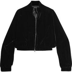 TOM FORD Cropped velvet bomber jacket ($1,525) ❤ liked on Polyvore featuring outerwear, jackets, zipper jacket, velvet slip, cocktail jackets, flight jacket and tom ford jacket