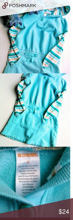 🆒 GYMBOREE HOODED SWEAT SHIRT SWEATSHIRT DRESS Mint green Gynboree Dress.   Sweatshirt material with striped T-shirt sleeves and a hood.  Sweatshirt style pockets in the front with a bow at the waist like a drawstring would be on sweat pants.  Soft and cute.  EUC Ask B4 you buy! Gymboree Dresses Casual