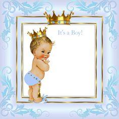 Shop Light Blue Gold Crown Prince Baby Shower Blonde Invitation created by VintageBabyShop.
