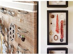 Creative Jewelry Displays | ... pieces, and a shadow box on the wall displays stylish jewelry as art