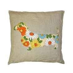 Dachshund Blossoms Pillow from @PoshTots #dog #floral #pillow #décor #home