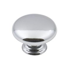 This polished chrome finish cabinet knob with mushroom design is a part of the Gatsby Series from the Elements Collection by Hardware Resources. A perfect blend of craftsmanship in traditional and contemporary design to complement any decor.