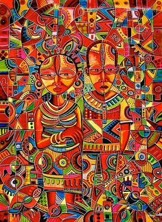 African Art Painting - The Couple by Angu Walters