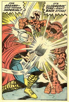 Fantastic Four 73 The Thing vs Thor splash 1968 Kirby by giantsizegeek, via Flickr