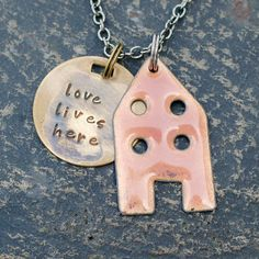House Pendant Copper Enamel Home Necklace Handstamped by Venbead