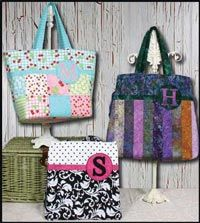 Bring Your Own Bag 2 Tote Pattern by Whistlepig Creek at KayeWood.com. Use charm squares, jelly rolls, or your stash to create your monogrammed bag. Letters included. Lots of pockets! 6 sizes. http://www.kayewood.com/Bring-Your-Own-Bag-II-Tote-Pattern-by-Whistlepig-Creek-Productio-WPC-BYOB2.htm  $8.50