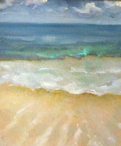 "Contemporary Modern Coastal Art ""Mermaid Glow"" 16 x 20 Somerset Velvet Watercolor Paper Limited Edition Blue, Green, Aqua Beach Scene"