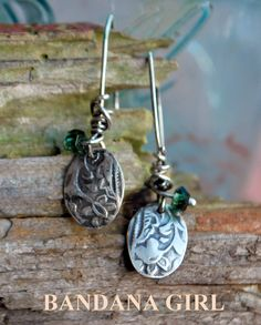 Small - Goddess Athena Silver Oval Drop Earrings handcut and textured sterling ovals on with faceted green tourmaline bead. All natural stones and my ooak Athena Textured oval charms created in Sterling Silver or Argentium Silver 925*