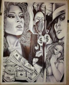 Original prison art from corcoran state prison shu Chicano Art Tattoos, Chicano Drawings, Tattoo Drawings, Art Drawings, Gangster Tattoos, Pix Art, Art Images, Prison Drawings, Arte Lowrider