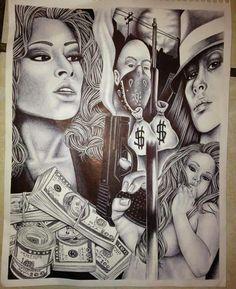 Original prison art from corcoran state prison shu Chicano Art Tattoos, Chicano Drawings, Body Art Tattoos, Art Drawings, Gangster Tattoos, Ear Tattoos, Tatoos, Pix Art, Art Images