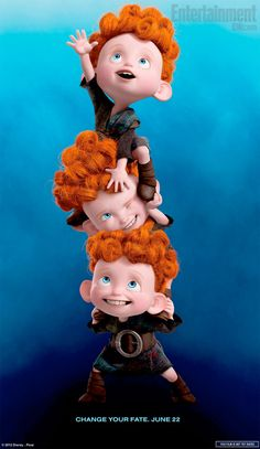 three lil kids from the coming up pixar movie Brave, reminds me of my lil bros!